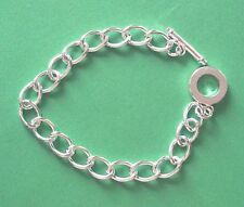10x complete silver plated chunky t bar bracelet chains, ideal for charms etc