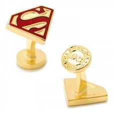 Gold Enamel Superman Shield Cufflinks DC Comics Official Cuff Links Free Ship