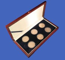 Wood Display Box Holds 6 Six Large (Silver Dollar/Challenge) Coin Capsules
