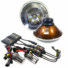 "H6024 Pair 7"" Head Light Housing Round Glass Conversion Lamp + 6K German HID Kit"