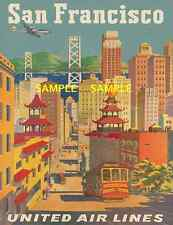 "United Airlines 8.5"" X 11""   Travel Poster [ SAN FRANCISCO ] -"