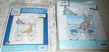 Tobin Baby Quilt Kit & Counted Cross Stitch Set of 2 - BOY BABY BUGGY