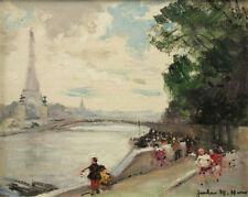 REDUCED!! $14,000 RARE EIFFEL TOWER PARIS FRAMED PAINTING JULES R HERVE FRENCH!