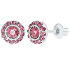 Rhodium Plated Fuchsia Pink Crystals Round Flower Screw Back Earrings 6mm