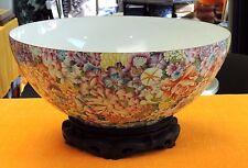 """17"""" Porcelain Eggshell Bowl Hand-Painted Raised Enamel Ten-thousand Flower Motif"""