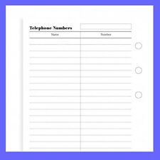 Filofax Pocket Size Telephone Numbers Note Paper Refill Insert 210207