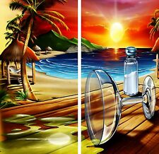 Beach Margarita & Salt Sunset Cornhole Game Board 3M Vinyl Decal Wrap Set
