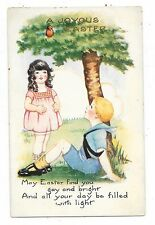 VINTAGE EASTER POSTCARD CHILDREN GIRL BOY LOOKING UP AT SPARROW BIRD IN TREE