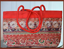 Embroidered cotton silk tote bag, hand bag, shoulder bag red color from India