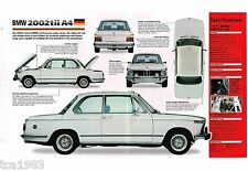 BMW 2002tii A4 SPEC SHEET / Brochure: 1971,1972,1973,1974,1975.......2002 tii