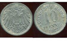 ALLEMAGNE 10 pfennig   zinc   1922   ( pas de lettre)   ( bis )