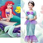 Girls Little Mermaid Fancy Dress Costume Ariel Princess Wedding Kids Dresses