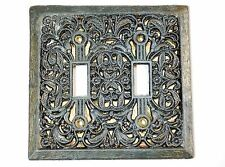 Vintage Double Light Switch Toggle Plate Cover Brass Ornate Filigree Gold Foil