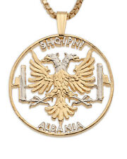 "Albanian Eagle Pendant & Necklace,14K & Rhodium plated,1 1/8"" in dia.( # 929 )"