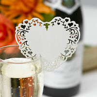 10 IVORY WINE GLASS PLACE NAME CARDS Laser Cut VINTAGE ROMANCE Heart Wedding