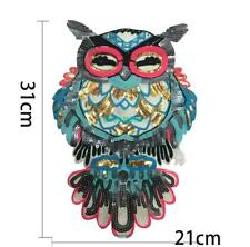 Large Cartoon Owl Sequins Bead Embroidery Patch Banner 31x21cm