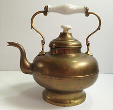 "Antique Large Brass Metal Tea Kettle w Porcelain Handle/Knob 12""t Rare Vintage"