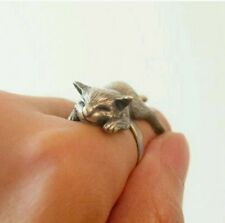 Sleepy Cat wrap ring valentines day animal rings silver gift for girlfriend cute