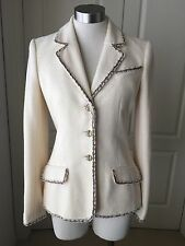 CHANEL BOUCHILE IVORY BLAZER JACKET With Trim Detail SIZE 38 / 36
