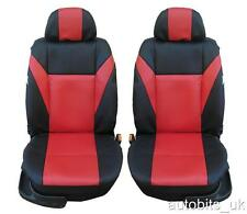 UNIVERSAL FRONT RED BLACK LEATHER SEAT COVERS CAR VAN MOTORHOME BUS MPV TRUCK