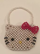 Hello Kitty Vintage Small Pearl Purse Bag Wallet RARE Sanrio Toy Kids Beads