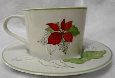 Block POINSETTIA Watercolors Flat Cup Saucer Set Multiple Available GREAT!