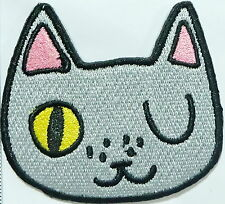 Cartoon Cat embroidered cloth iron on patch for vintage bike backpacks funny mix