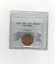 **1967 Die Crack** Coin Mart Graded Canadian Small One Cent, **MS-63**