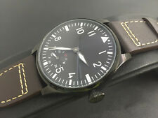 44mm Parnis PVD Case 6498 Hand Winding Black Dial Men's watch With Small second