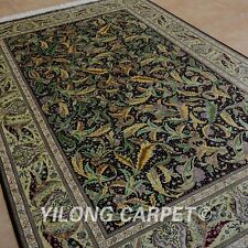 Yilong 6'x9' Silk Handknotted Persian Kashmir Rug Traditional Floral Carpet 0720