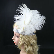 White Feather Flapper Headdress Headpiece Sequins Hariband Headband Race Party