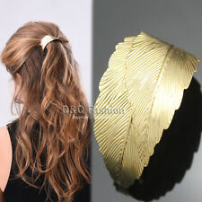 Rare Gold 2 Curve Leaf Feather French Updo Hair Pin Clip Dress Snap Barrette