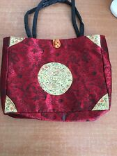 Oriental Handbag Tote Purse Dragon Red Gold Pattern Casual Beautiful