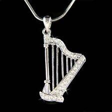 W swarovski cristal fée ~ celtique harpe harpiste musique irlandais collier pendentif noël