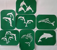Pack of 7 Dolphin-1  Vinyl Tattoo Body Art Stencils Glitter AIR BRUSH