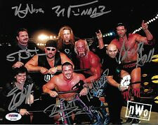 Hulk Hogan Scott Hall Kevin Nash Eric Bischoff +3 Signed NWO 8x10 Photo PSA/DNA