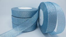 """NEW 25yards 1 """"25mm glitter ribbons Bling for DIY Wreaths decorated and Bows T6A"""
