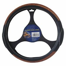 Steering Wheel Cover - SWC4W - Mountney - Black Leather / Wood Effect