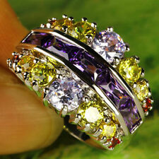 Beauty Emerald & Round Cut Amethyst Citrine Silver Bling Custome Ring Size 7