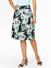 NEW $109 Blue Brushstroke Rose,Floral A-Line Cotton Skirt Sz 16WP,16W Petite