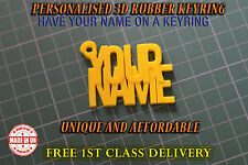 Personalised Named Rubber 3D Keyring Novelty Keychain Key fob Custom Name Tags