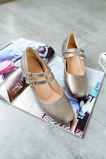 Hot Womens Lovey Patent Ankle Buckle Mary Jane Mid Block Heel Pump Shoe Size 2-9
