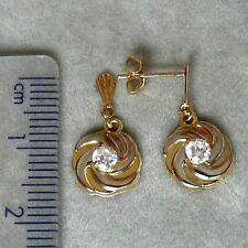 ** NEW ** 9ct Gold Spiral Circle Cubic Zirconia (CZ) Two-Tone Dropper Earrings