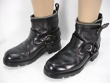 KARL KANI BLACK LEATHER HARNESS STRAP MOTORCYCLE ANKLE BOOTS MEN'S 9