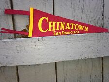 Vintage Chinatown San Francisco Maroon Gold Yellow Small Wool Felt Pennant