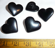 5 Vintage 2cm Czech Black Glass Heart Buttons
