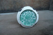 White & Aqua Metal & Glass Floral Pattern Drawer Pull knob ~ NEW ~ Dresser