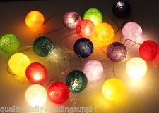 Multi-Colour Cotton Ball Fairy Light String Lite 220v or 110v 3 Meters / 10 foot