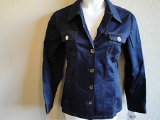 *Classic* NWT Jones New York Signature Stretch Cotton Sateen Jacket  Small Navy