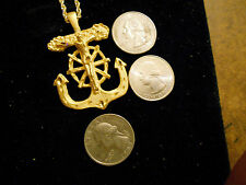 bling gold plated sailors cross anchor navy charm chain hip hop necklace jewelry
